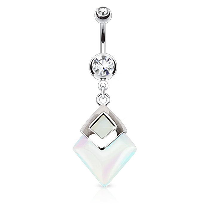 Opalite Diamond Shaped Belly Ring