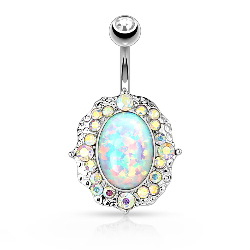 Opal Center with AB Crystals Belly Ring - Silver