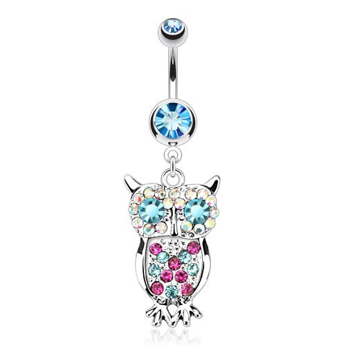 Multi Colored Dangling Owl Belly Ring