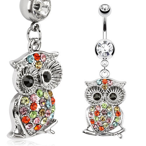Owl on a Branch Multi Color Gemmed Belly Ring