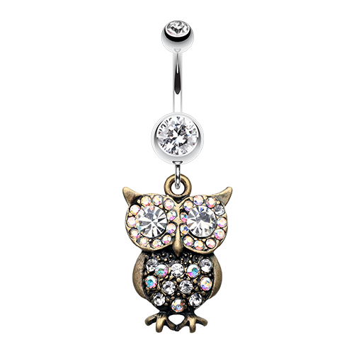 Bronze Owl Belly Ring