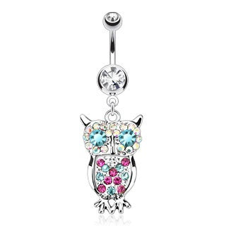 Owl with Multi Colored Gems Belly Ring