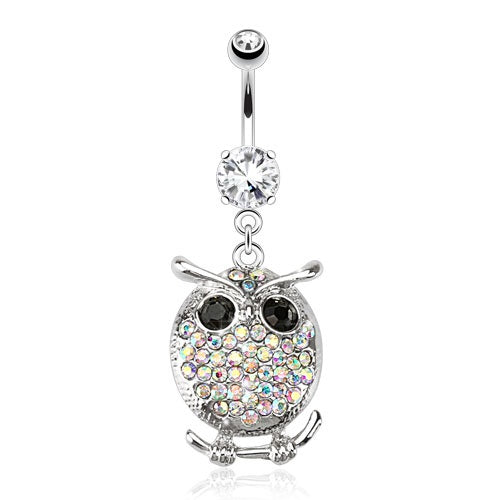Oval Owl with Multi Paved Gems Belly Ring