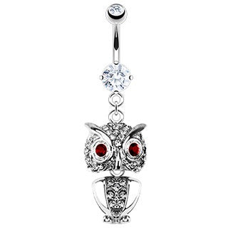 Owl Belly Ring with Paved Gems