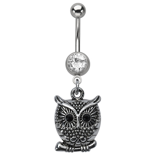 Silver Owl Belly Ring