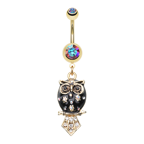 Golden Owl Belly Ring