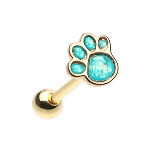 Golden Paw Print Tongue Ring