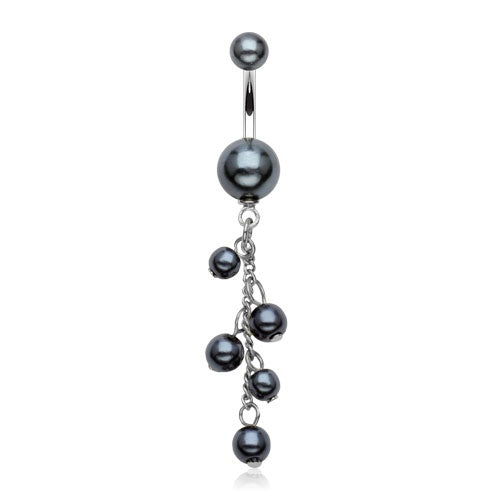 Elegant Black Faux Pearl Dangling Belly Ring