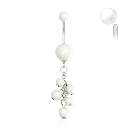 Elegant White Faux Pearl Dangling Belly Ring