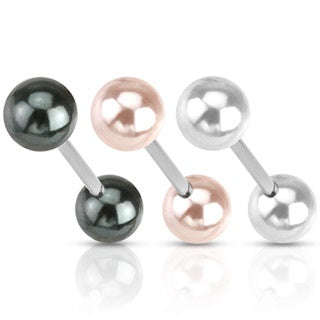 Pearl Coated Tongue Ring