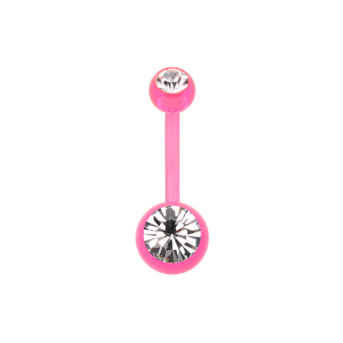 Bio Flexible Gem Ball Acrylic Belly Ring Pink