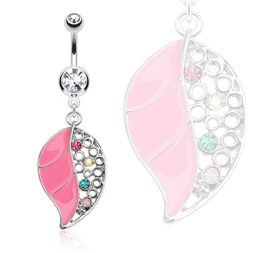 Pink Epoxy Leaf Dangle Belly Ring