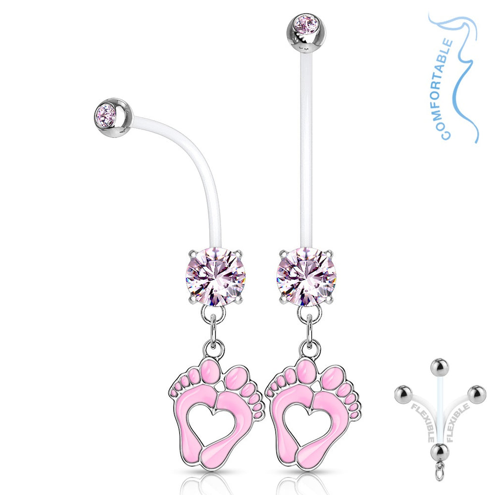 Pink Baby Feet Pregnancy Belly Ring