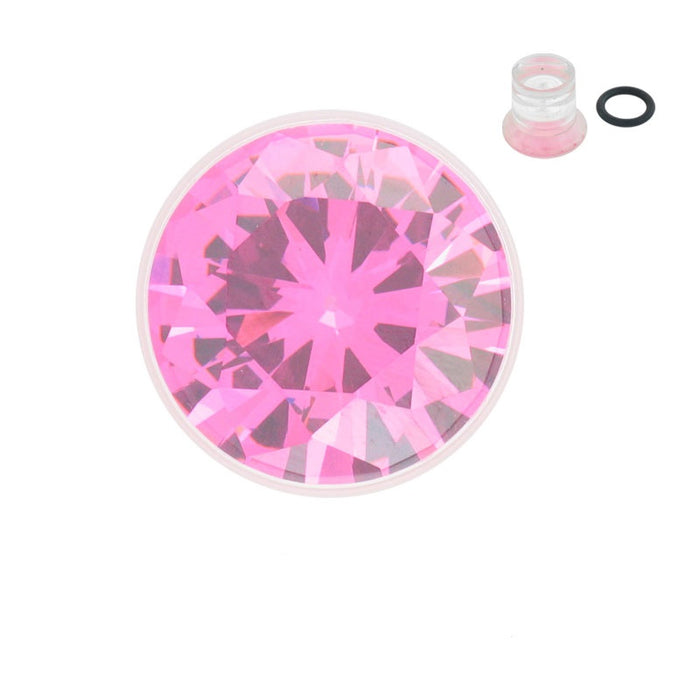 00 Gauge Single Flared Clear Acrylic Plugs with Pink CZ - Sold Individually