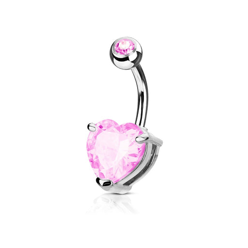 Pink CZ Solitaire Heart Belly Ring