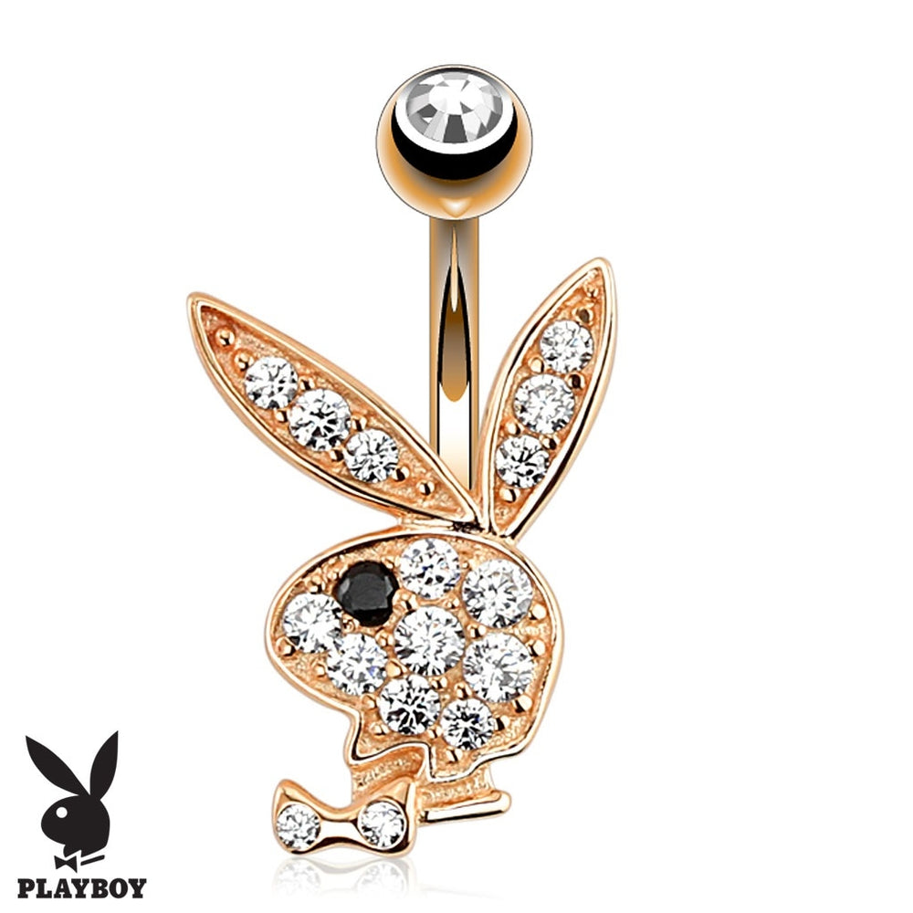 Playboy Multi Paved Gem Belly Ring-Rose Gold