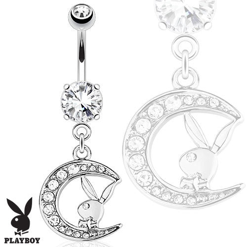 Playboy Bunny with Gemmed Moon Belly Ring