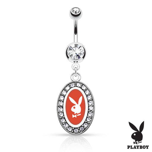 Playboy Bunny Round Frame Belly Ring - Red