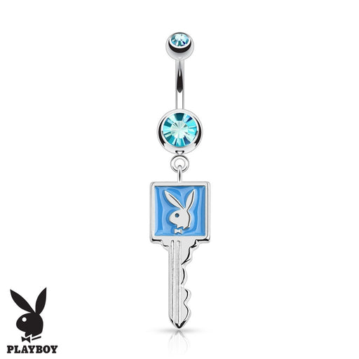 Aqua Playboy Bunny Key Belly Ring