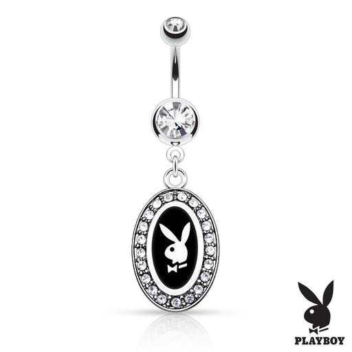 Playboy Bunny Round Frame Belly Ring - Black