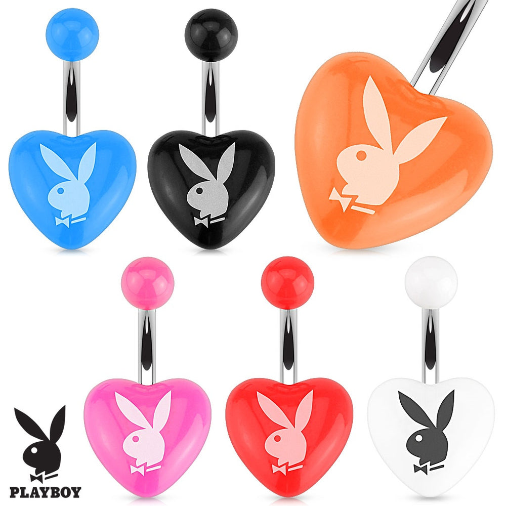 Playboy Bunny Heart Belly Ring