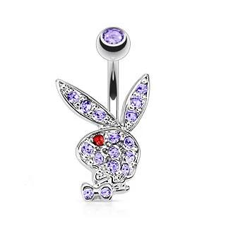 Playboy Bunny Multi Gem Belly Ring-Light Purple
