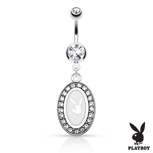Playboy Bunny Round Frame Belly Ring - White