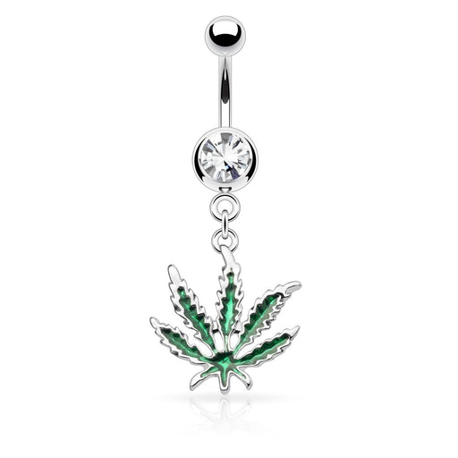 Dangling Marijuana Belly Ring with Crystal Gem