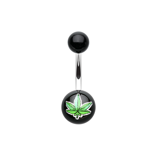 Green Pot Leaf Logo Belly Ring