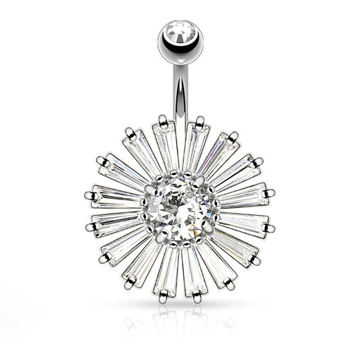 Princess Cut Shield with Clear CZ Center Belly Ring