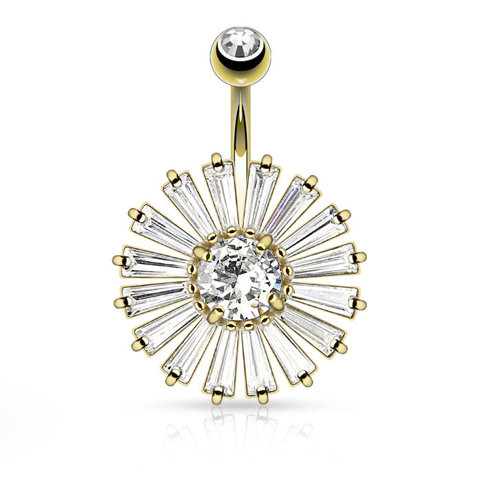 Princess Cut CZ Shield with Clear CZ Center Belly Ring