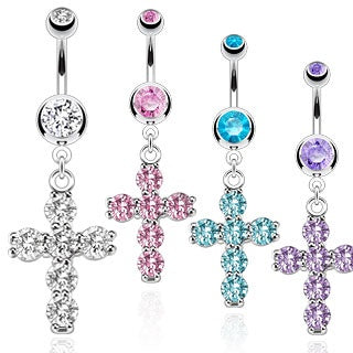 Prong Set Cross Belly Ring