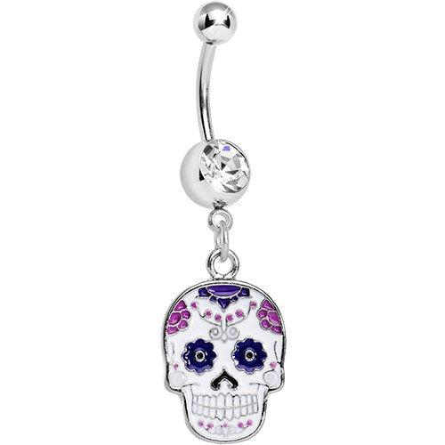 Purple Sugar Skull Belly Ring