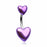 Two of Hearts Metallic Belly Ring