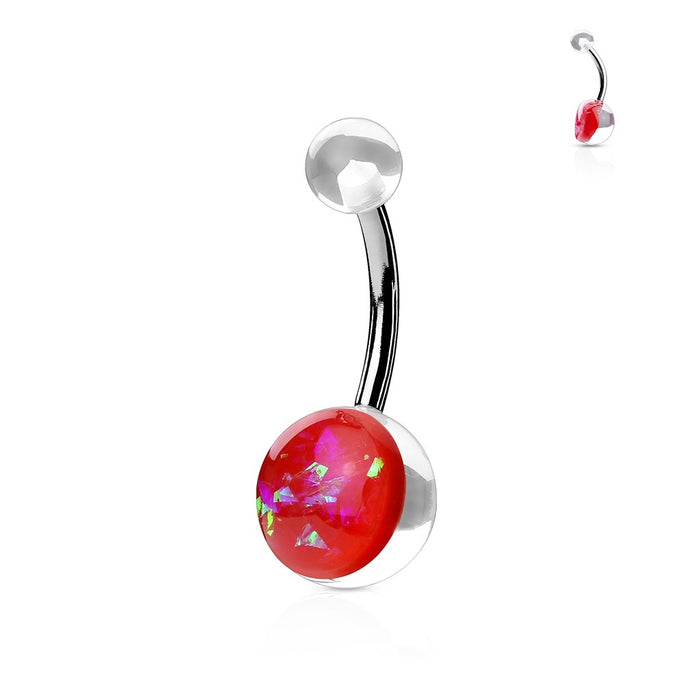 Opal Glitter Acrylic Belly Ring Red