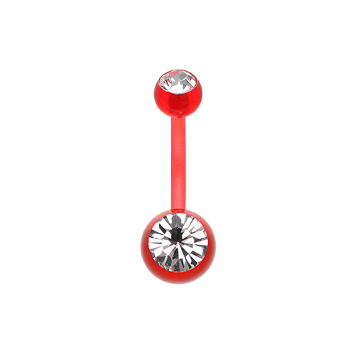 Bio Flexible Gem Ball Acrylic Belly Ring Red