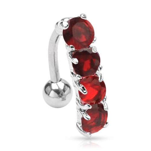 Reverse Red Gem Drop Belly Ring