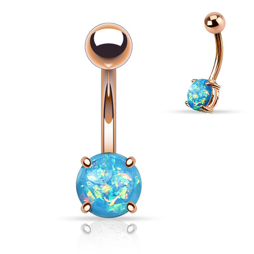 Rose Gold Aqua Opal Glitter Belly Ring