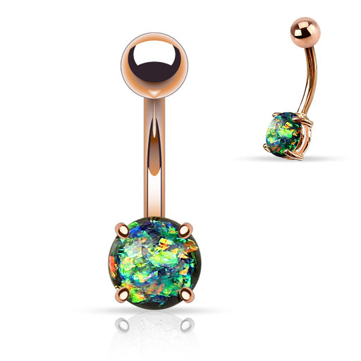 Rose Gold Dark Green Opal Glitter Belly Ring