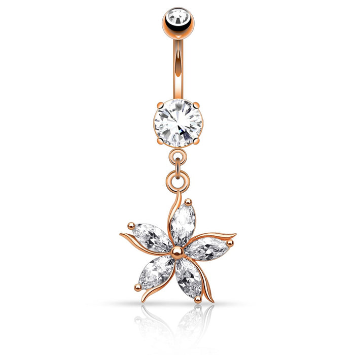 Rose Gold Flower with CZ Petals Belly Ring