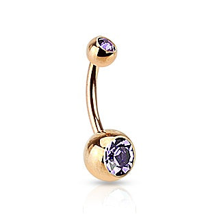 Rose Gold Double Gem Belly Ring - Lt Purple