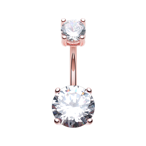 Rose Gold CZ Prong Set Belly Ring