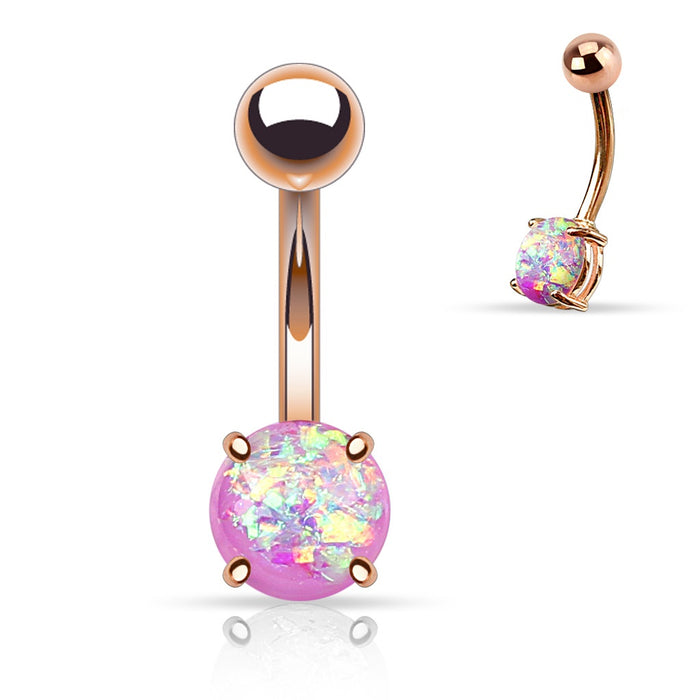 Rose Gold Purple Opal Glitter Belly Ring