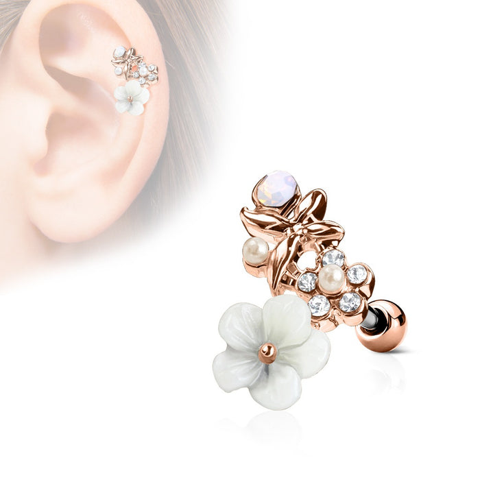 CZ and Flowers Cartilage Ring Rose Gold