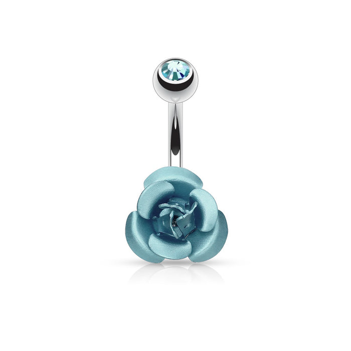 Metal Rose Belly Ring-Aqua