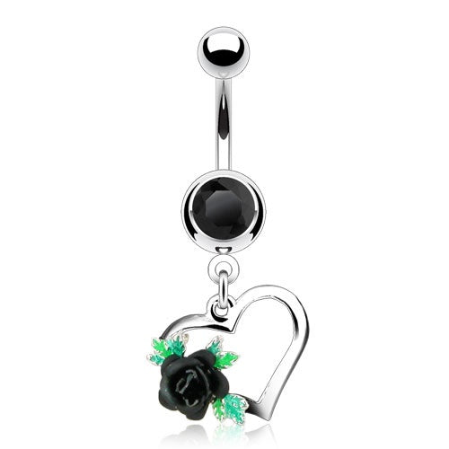Heart with Rose Belly Ring - Black