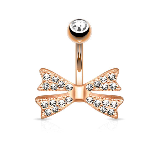 Non Dangle Rose Gold Bow Belly Ring
