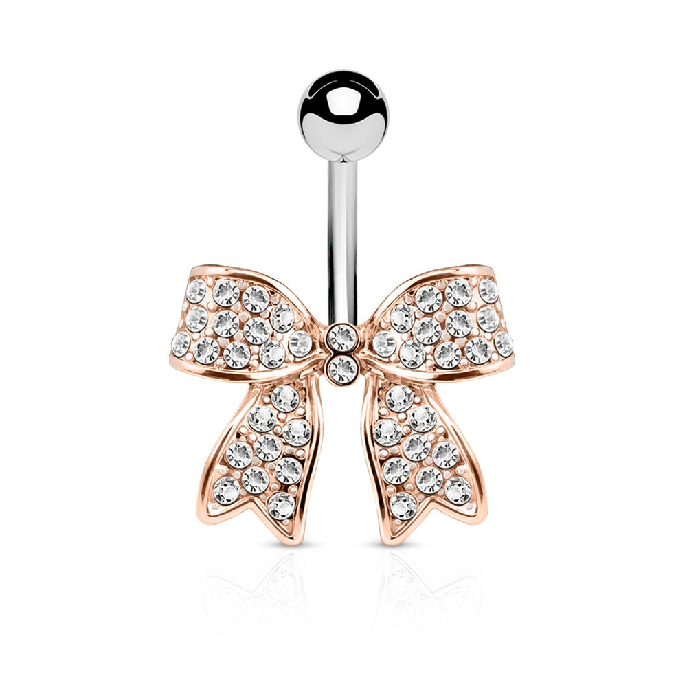Rose Gold Crystal Paved Bow Belly Ring