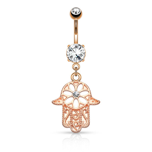 Beaded Outline Rose Gold Hamsa Belly Ring