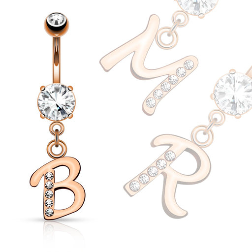 14kt Rose Gold Plated Initial Dangle Belly Ring